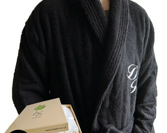 Personalized monogram and name shawl collar cotton terry toweling black bathrobe
