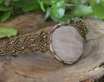 Rose quartz necklace macrame