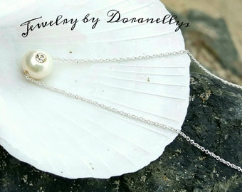 Pearl with crystal and Sterling silver pendant!