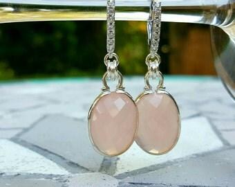 Sale! Was 139.00,  pink earrings, Sterling silver, Rose cut Chalcedony, woman, dangle earrings, Gemstone, earrings for her, elegant