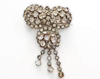 Vintage Crystal Statement Brooch, Vintage Crystal Pin