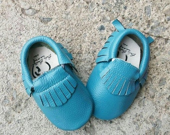 Leather baby moccasins blue booties baby soft sole moccasin tassel shoe genuine leather newborn