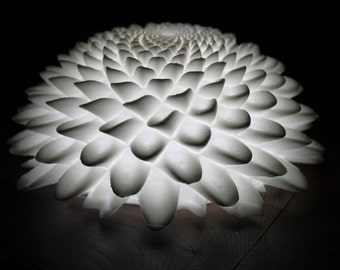 Lamp in 3D. Beautiful lamp made with 3D printer. Shaped flower.