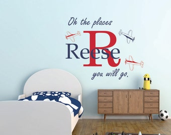 Airplane vinyl wall decal,  boy name vinyl wall decal, airplane decal, boys nursery decal, boys vinyl wall decal, your wings already
