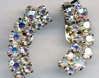 Beautiful Vintage Aurora Borealis Crystal Rhinestone Runway Earrings