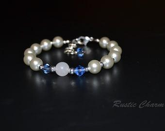 Blue Crystal and Quartz Bracelet