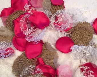 Fuchsia Rustic Rose Petals/Flower Girl Petals/Fuchsia Rose Petals/Pink Country Rose Petals/Burlap Rose Petals/Pink Wedding Decor/Rose Petals