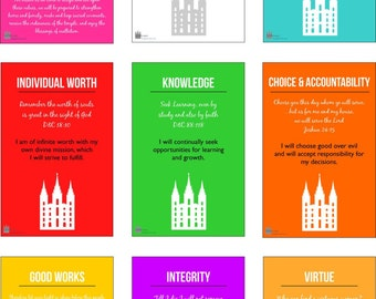 Young Women Values, Theme Color POSTERS (Solids) LDS
