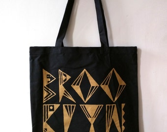 BROOKLYN tote bag (black bag w/ gold silkscreen)