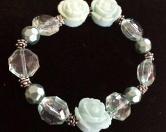 Teal Rose flower acrylic beaded bracelet