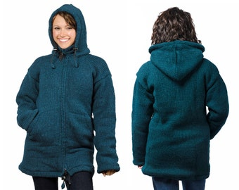 Womens Wool Hoodie, Hand Knit Wool Winter Coat - Long Length, Dark Teal - 2370G