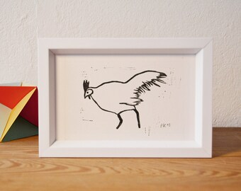 cock · original linocut · 12 x 9 cm
