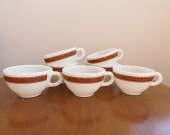 Set of 7 Vintage Pyrex Bronze Pattern Coffee Cups, Round Squat Tea Cups Tableware #701