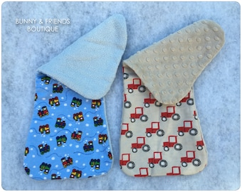 2-PC Choo Choo Train and Tractors Contoured Flannel Baby Burp Cloth Set / Baby Boy Burp Cloths