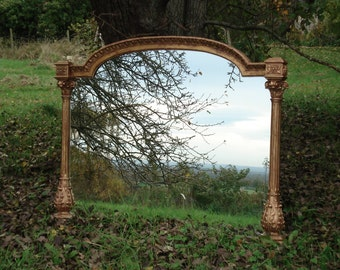Large overmantle antique mirror