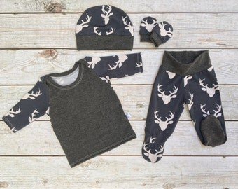 SET SALE! Boys Outfit Set, Lap Neck Tee, Footie Pants, Art Gallery Knit, Going Home Outfit, Boys going home outfit, Buck Blue Spring Summer
