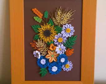 Handmade paper quilled flowers art