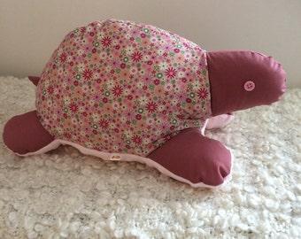 turtle plush toy, plush turtle, handmadeUK, pink flowers, supersoft minky