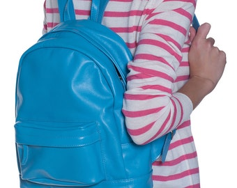 handmade Blue Sea wave color leather woman backpack gift / men woman/