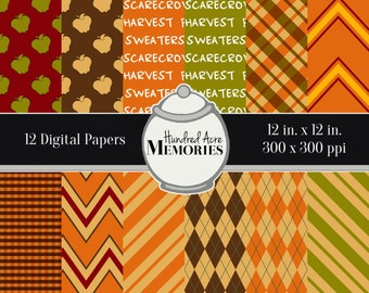 Digital Papers, Apple Picking Autumn, 12 inches x 12 inches, 300 ppi (dpi), Scrapbooking and Craft Papers, Downloadable and Printable