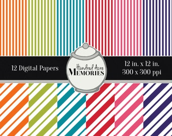 Digital Papers, Bright Diagonals and Stripes, 12 inches x 12 inches, 300 ppi (dpi), Scrapbooking & Craft Papers, Downloadable and Printable