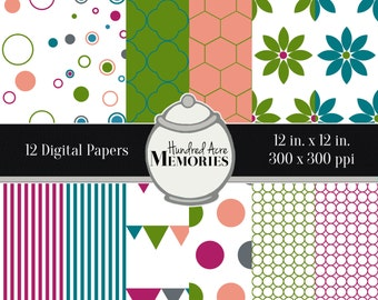 Digital Papers, Deep Brights, 12 inches x 12 inches, 300 ppi (dpi), Scrapbooking and Craft Papers, Downloadable and Printable