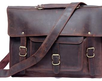 Rustic Leather Messenger Bag Leather Satchel Briefcase Shoulder Bag Laptop Bag Macbook Bag