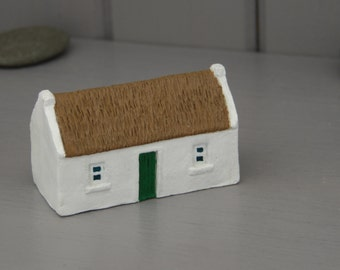 Miniature Irish cottage.Irish gift. Miniature Irish cottage  handmade and handpainted in Ireland. Thatched irish cottage ornament.