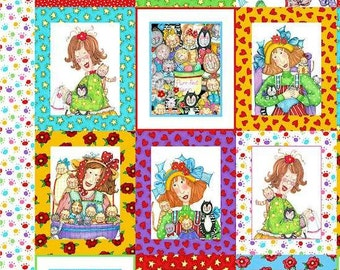Pet Panels with Ladies sewing, knitting, Cats, Kittens Fabric Panel Pillow, Wall hanging