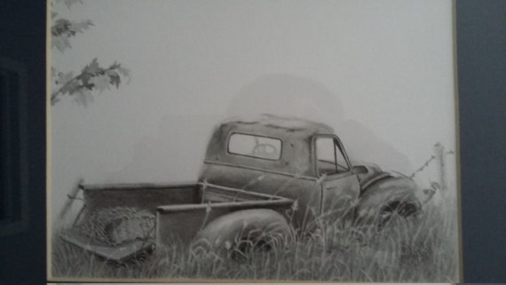 ORIGINAL classic Chevy Pickup graphite pencil drawing