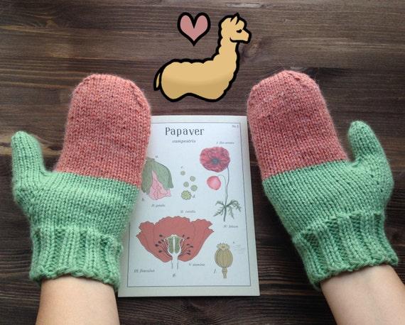 Alpaca Mittens Knitting Pattern : PDF Knitting Pattern Love Alpacas Mittens Cute Lama Gloves Mittens with Alpac...