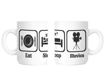 Eat Sleep Movies Film Tv Gift Mug shan95