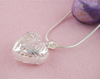 Silver Heart Hollow Pendant 30inch Snake Chain