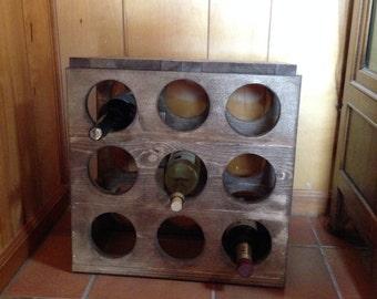 Walnut stained wine rack