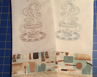 Set of two Coffee themed Machine Embroideried Dishtowels / Tea Towels