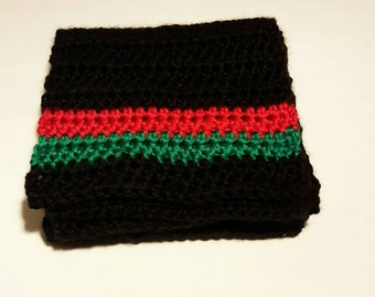 Crochet Scarf, Red, Black and Green Scarf, African Scarf
