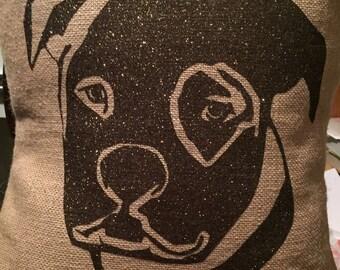 Burlap Pit Bull Pillow Cover