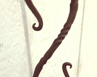 Hand forged, blacksmith in the backyard, decorative S hook