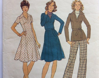 1970s princess seam dress Bust 34 Simplicity 7177 vintage sewing pattern Retro 70s dress tunic and pants Waist 26.5 Hip 38 Boho casual style