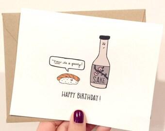 Sushi & Sake Birthday Greeting Card