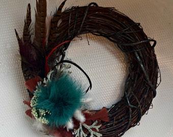Blue Feather Wreath - Grapevine
