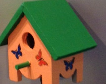 Mini Birdhouse Garden Stake (Small) - Melon with Green Roof & Butterflies
