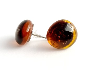 Amber coloured glass marble stud earrings - Handmade