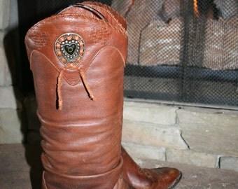 Vtg ZODIAC Western Cowboy Boots Brown 8.5M