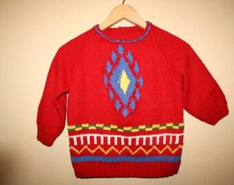 Vtg Aztec Knit Sweater Childs