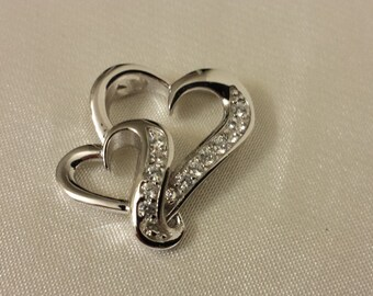 Double hearts, CZ Sterling Silver Double hearts Pendant