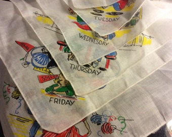 ON SALE-Vintage days of the week brand new - handkerchiefs-WAS 25