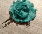 Shabby turquoise rosette flower planner clip, shabby rose planner accessories decorations, use with Erin or Plum planner, coworker gift
