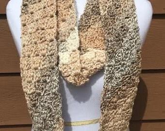 Beige Crochet Scarf, Beige Infinity Scarf, Tan Crochet Scarf, Tan Infinity Scarf, Brown Crochet Scarf, Brown Infinity Scarf, Skinny Scarf