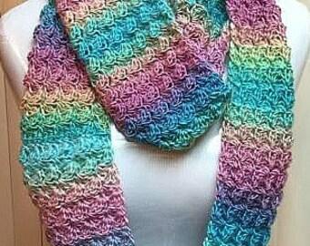 Pastel Crochet Scarf, Pastel Scarf, Striped Scarf, Crochet Pastel Scarf, Lightweight Scarf, Multi Color Scarf, Crochet Scarf
